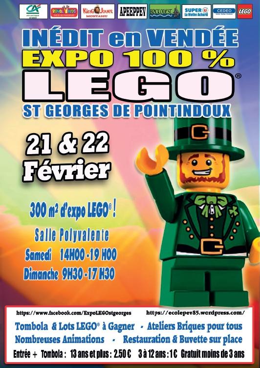 AFFICHE EXPO LEGO ST GEORGES DE POINTINDOUX